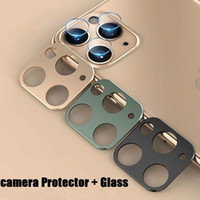 Telefon Kamera Lens Cam + Metal Yüzük iphone 12 Pro Max Kamera Koruyucu Temperli Cam iphone 11 Pro Max Kamera Lens Kapak Kılıfı