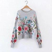 Lanmrem Koreaner Herbst Winter Mode Neue Feste Farbe Runde Kragen Full Sleeve Lose Gestickte Pullover Frauen V74702 201111