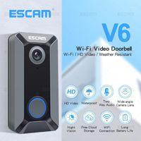 الجرس escam v6 720P اللاسلكية الجرس فيديو كاميرا سحابة تخزين ماء الأمن المنزل مع البطارية داخلي dingdong chime1