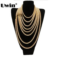 UWIN Gold White Gold Color 2 Tennis Chains Bundle Necklace 5...