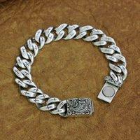 925 Bouton magnétique Bracelet en argent sterling Charms chaîne réticuler TA218