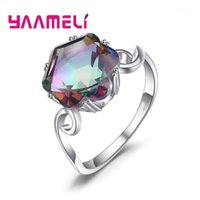 High Class Mystic Rainbow Topaz Finger Jewelry 925 Sterling Silver Wedding Band Rings for Woman Lady Cocktail Birthday Party1