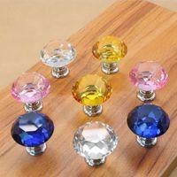 30mm de diamante porta de cristal botões de vidro gaveta knobs kitchen mobiliário punho maçaneta alças de parafuso e puxa o transporte marítimo w56
