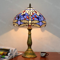 테이블 램프 Dia 30cm 유럽 레트로 스테인드 글라스 알루미늄 합금 지중해 블루 잠자리 E27 거실에 대 한 Diningroom 침실 바 DHL