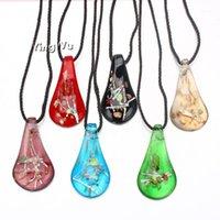 Yingwu charm hecha a mano lampwork murano vidrio oro hoja de gota hoja colgante collar joyería regalo 6 unids al por mayor1