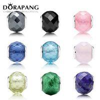 2021 Nouvelles facettes géométriques 100% 925 Sterling Argent Européen Charm de Murano Glass Perles Fit Bracelet Bracelet Bracele Bijoux Cadeau