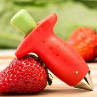 Rojo fresa fresa de escoria superior de la hoja removedor fruto de tomate Tallos cuchillo de la fruta del tallo removedor Útil Gadgets de cocina GGD2782