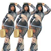 Kadınlar Elbiseler Seksi Doları Baskılı Moda Uzun Kollu Yüksek Yaka Elbise Maxiskit BODYCON Elbiseler Noel Partisi Tasarımcı Giyim CZ111201