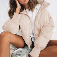Zebery Mode Bubble Manteau Solide Crop Top Y2K Collier standard surdimensionné Veste courte surdimensionnée Hiver Automne Jacket Parkas Mujer