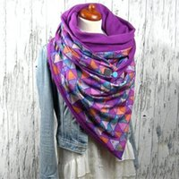 Scarf Women Printing Button Soft Wrap Casual Warm Shawls And Wraps Women Winter Scarf Vintage Russian Spanish Top Bandana