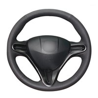Hand- stitched Black PU Artificial Leather Car Steering Wheel...