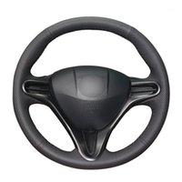 El-Dikişli Siyah PU Yapay Deri Araba Direksiyon Kapakları Kapakları 8 2006-2011 için (3-Schoke) 1