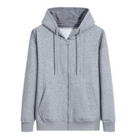 men age season cardigan pure color trend hooded zipper young...