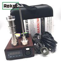 Portable ENail Smoking Electric Dab Dnail Pen Rig Wax PID TC Box With Ti Titanium Domeless Coil Heater E Quartz Nail kit silicone pad