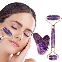 Ametista Jade Roller Gua Sha Tool Set Facial Massage Roller pelle di serraggio rullo di pietra Viso Anti rughe Bellezza Salute