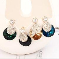 Accessoires de mode Ornements Glittering Cristal ronde Strass Caractère individuel est Gold Stud Boucles d'oreilles pour femmes 274 J2
