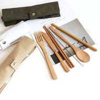 مجموعة أدوات السكاكين من الخيزران الطبيعي تشمل سكين، شوكة، ملعقة، فرشاة سترو وتنظيف لتنظيف مكتب التخييم غداء CCF4202