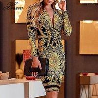 Casual Dresses XNXEE 2021 Ethnische Druck Spin Front Frauen Langarm Kleid Sexy V-ausschnitt Party Club Herbst Mode Bodycon Vestidos Mujer1