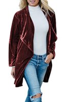 Autumn and Winter New European and American Womens Clothing Cardigan Coat Hot Sale Gold Velvet Mid-Length Trench Coat for Women