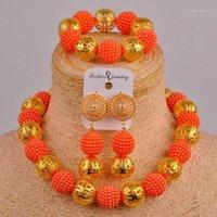 Majaia New Classic Nigeria Hochzeit Imitation Perlenschmuck Orange Afrikaner Perlen Hochzeit Schmuck Set XX-171