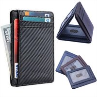 New Slim Carbon Fiber Leather Mens Wallet Card Holder Black ...