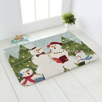 Christmas Snowman Santa Claus Bedroom Corridor Carpet Non-Slip Soft Door Mat Suitable For Living Room and Kitchen