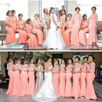 Vintage Rosa Südafrikanische Meerjungfrau Brautjungfer Kleider Plus Größe Sheer Halbhülse Schaufel Hals Langer Reinigungsmädchen der Honorkleider Gowns Custom Make