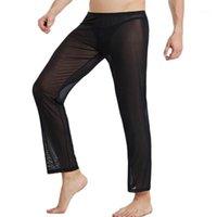 Hommes Dormir Bottoms Mesh Pantalons pour hommes Mince Pajamas Lâche Pantalon Pantalon Pantalon Pantalon Nightwear Sommeil
