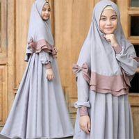 Abaya Çocuklar için Müslüman Elbise Kız Çocuk Dubai Kaftan İslam Giyim Ramazan İslam Giyim Kimono Jubba Orta Doğu Scarf1