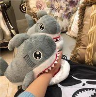 أسلوب الشتاء الكورية النعال لطيف رئيس القرش منزل المرأة القطن عدم الانزلاق سميكة سوليد ثلاثة الأبعاد أفخم القطن النعال رأس حيوان