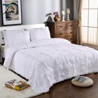 FAMVOTAR Luxus Handgemachte Rosenmuster Massive Weiße Bettdecke Quilt Set 100% Baumwolle 3 Stücke Gesteppte Coveret Sets Queen Size1