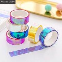 6Colors Set Rainbow Laser Washi Tape Glitter Schreibwaren Scrapbooking Dekorative Klebstoffbänder DIY Masking Tape Schulbedarf T200229 2016