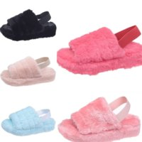 1CC AOXUNLONG Moda Kış Kürk Açık Toery Terlik Ayakkabı Rhinestone Kürk Slaytlar Bayanlar Peluş Yeni Kedi Peluş Kadın Terlik Bayan Sıcak Kabarık