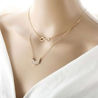 diamond and necklaces with Creative V-shaped 8-word pendant women's multi-layer NecklaceRUQ0KGC3