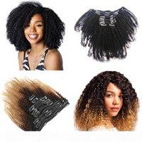 뜨거운 판매 아프리카 kinky 머리카락에 곱슬 클립 머리 확장 4B 4C 120G PC 100 % 진짜 인간의 머리 OMBRE 1B 4 27 공장 직접