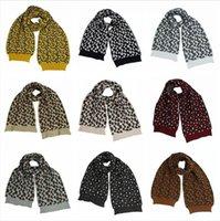 Le donne sciarpa lavorata a maglia stampa leopardo calda lana Uncinetto Sciarpe esterno di inverno antivento Fashion Casual soft Sciarpe DDA717