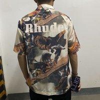 2021 Новый мужчина Киряаки для краситель Rhody Western Cowboy Мода Хлопок Высокое Качество D29 Карманная Рубашка GZXO