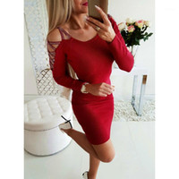 Zity Office Lady Dress Elegante Donne Sexy manica lunga a maniche lunghe Freddo -Shoulder Casual BodyCon Dress Party Solid Red Dresses rosa1