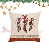 1 pcs Bell Christmas Sapin De Noël Taie d'oreiller en lin imprimé Tampon Coussin mignon Coussin de Noël Coussin de voiture Canapé Décoratif Tillowcase1