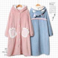 Güzel Kadınlar Kış Robe Şapka Ile Kimono Bornoz Gevşek Sonbahar Gecelik Kulaklar Kapüşonlu Pijama Hamam Gece Elbise Kıyafeti Kızlar1