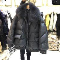Janveny court Parkas Femme 2020 Fox naturel col de fourrure en vrac oversize 90% de canard blanc veste vers le bas les femmes d'hiver Outwear Manteau