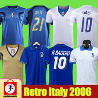Retro 1994 Itália Robert R.Baggio Camisas de futebol 10 # Totti 21 # Pirlo 7 # Del Piero Jerseys Retro 1986 1996 1998 2006 Camisas de futebol de Jersey