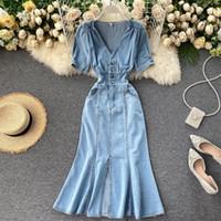 Vestidos de fiesta Vestido Vintage Vintage Vestido Vintage Vintage Solid V Botón Botón Sexy Split Slim Long Coreano Elegante Streetwear Bodycon Robe