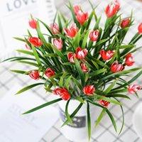 7 cabezas tulipanes artificiales flores Decoración de lavanda colores PE Nuez de rosa y látex de la cola para la fiesta de bodas Decoración de ramo nupcial1