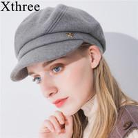 Soy chapeaux xThree hiver chapeau de chapeau de femme octogonale avec visière mode solide sboys pour fille femmes automne