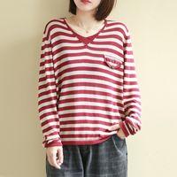 Johnature Primavera Novo Coreano Casual V-Decote Longa Longa Listrada Knitwear T-shirt Loose Confortável Moda 4 Cor Mulheres Tops T200512