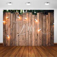 Primavera Rústico casamento de madeira Bulb Fotografia Muro Backdrops luz do amor foto da festa de casamento do fundo Photo Studio Photocall