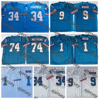 Vintage TennesseeTitansOiler Houston1 Warren Moon 34 Earl Campbell Steve McNair 74 Bruce Matthews Blue genäht Fußballtrikot