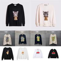 2021 새로운 핫 Womens 디자이너 후드 패션 양고기 동물 가을 겨울 망 긴 소매 까마귀 풀오버 옷 고양이 스웨터 아시아 크기