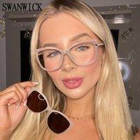 نظارات شمسية سوانويك كليب على المغناطيسي الاستقطاب uv400 المرأة النظارات المربع البصرية إطار واضح عدسات tr90 الوردي جودة عالية 20211